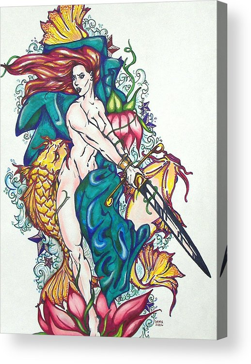 Mermaid Acrylic Print featuring the mixed media Mermaid Warrior by Christine Maeda
