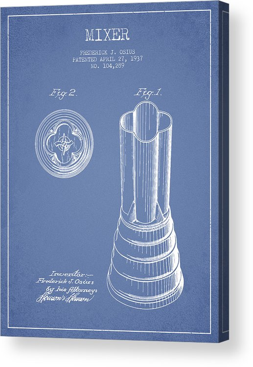 Blender Acrylic Print featuring the digital art Mixer Patent From 1937 - Light Blue by Aged Pixel