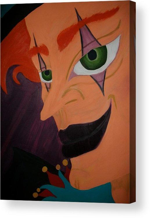 Modern Day Joker Smiling Joker Mean Joker Colorful Acrylic Print featuring the painting Modern Day Joker by Amy Jenkins