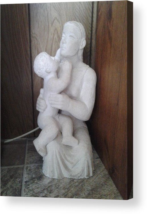 Plaster Acrylic Print featuring the ceramic art Mother And Son by Edwin A Ziarko
