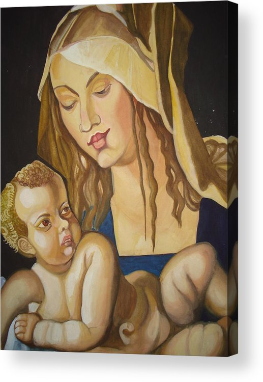Mother Acrylic Print featuring the painting Mother With Her Child by Prasenjit Dhar