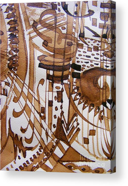 Abstract Pen And Ink Painting Acrylic Print featuring the painting Music 3 by Nancy Kane Chapman