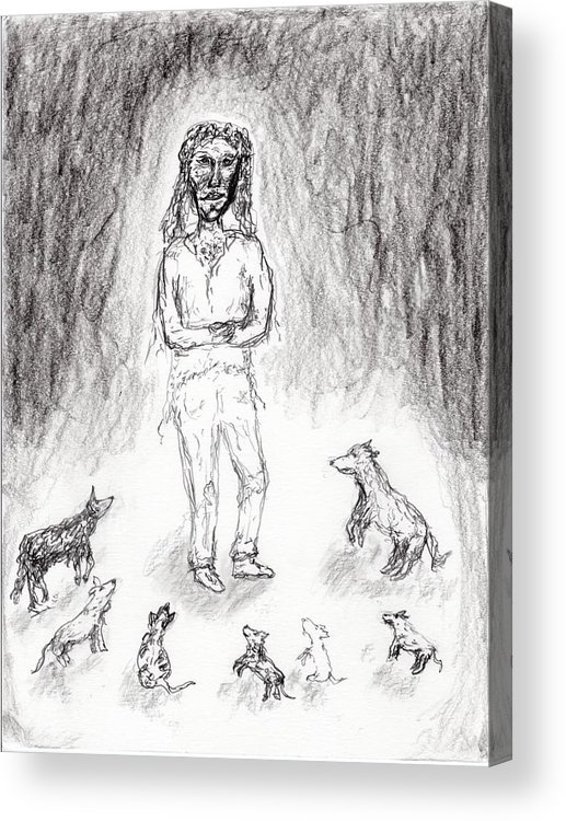 Jim Taylor Acrylic Print featuring the drawing Mutt Love by Jim Taylor