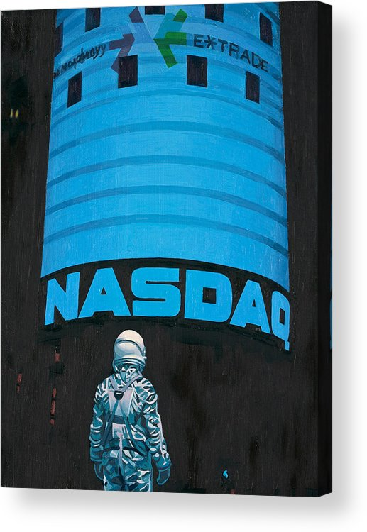 Astronaut Acrylic Print featuring the painting Nasdaq by Scott Listfield