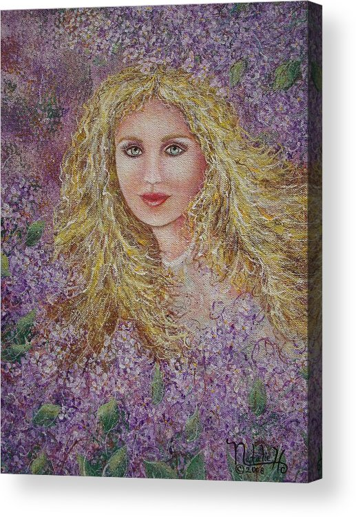 Portrait Acrylic Print featuring the painting Natalie In Lilacs by Natalie Holland