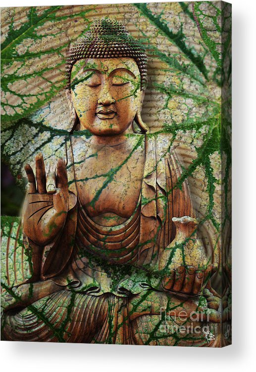 Buddha Acrylic Print featuring the mixed media Natural Nirvana by Christopher Beikmann