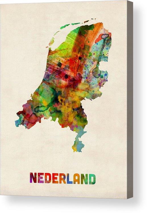 Map Art Acrylic Print featuring the digital art Netherlands Watercolor Map by Michael Tompsett