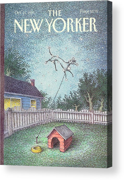 A Dog Constellation On A Leash Runs Around In The Twilight Sky Rather Than The Backyard Where It's House And Food Bowl Are. Acrylic Print featuring the painting New Yorker October 21st, 1991 by John O'Brien