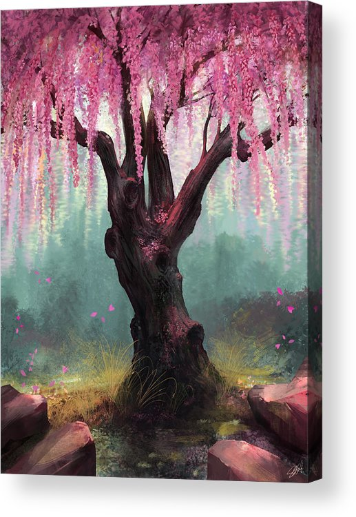 Cherry Blossom Tree Acrylic Print featuring the digital art Ode To Spring by Steve Goad
