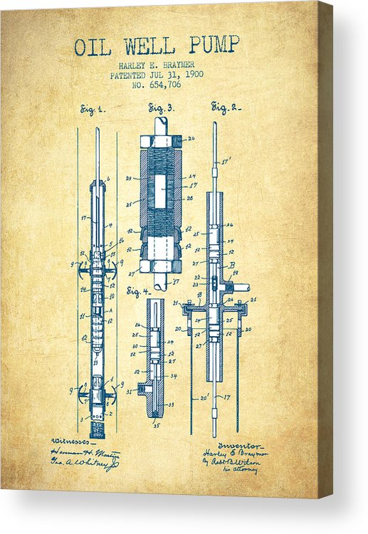Oil Well Pump Patent From 1900 - Vintage Paper Acrylic Print Offs Oil Well Schematic Diagram on