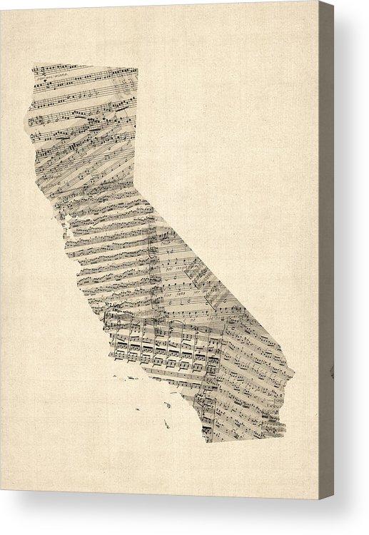 California Map Acrylic Print featuring the digital art Old Sheet Music Map Of California by Michael Tompsett