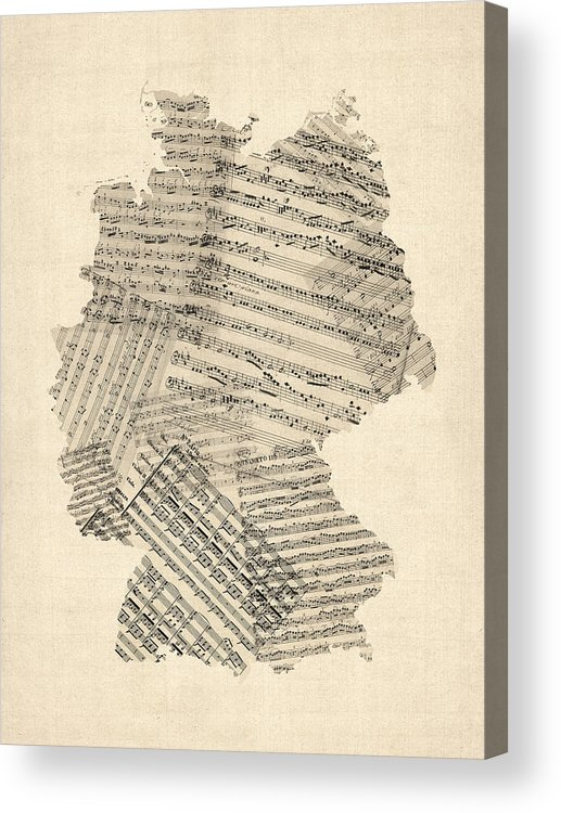 Germany Map Acrylic Print featuring the digital art Old Sheet Music Map Of Germany Map by Michael Tompsett