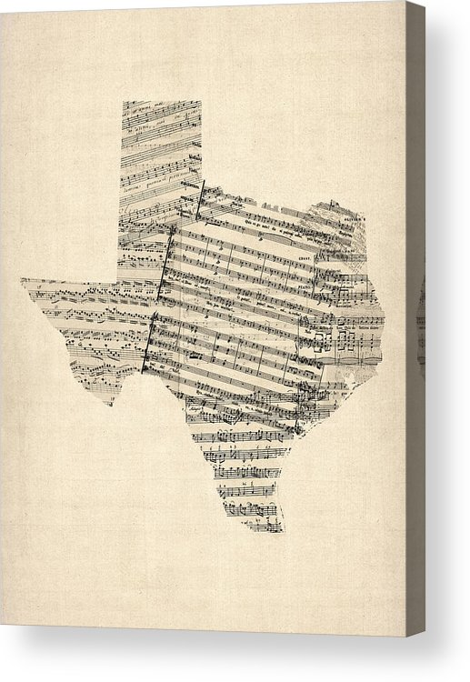 Texas Acrylic Print featuring the digital art Old Sheet Music Map Of Texas by Michael Tompsett