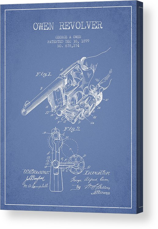 Revolver Patent Acrylic Print featuring the digital art Owen Revolver Patent Drawing From 1899- Light Blue by Aged Pixel