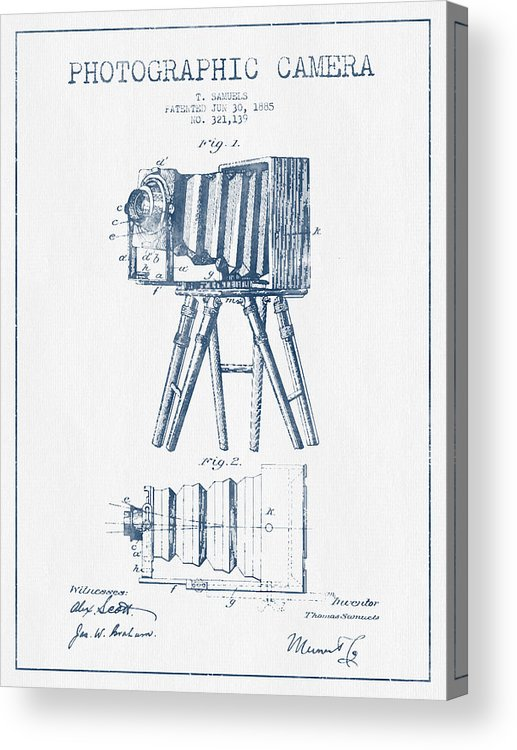 Camera Acrylic Print featuring the digital art Photographic Camera Patent Drawing From 1885- Blue Ink by Aged Pixel