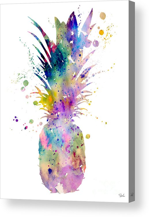 Pineapple Watercolor Print Acrylic Print featuring the painting Pineapple by Watercolor Girl