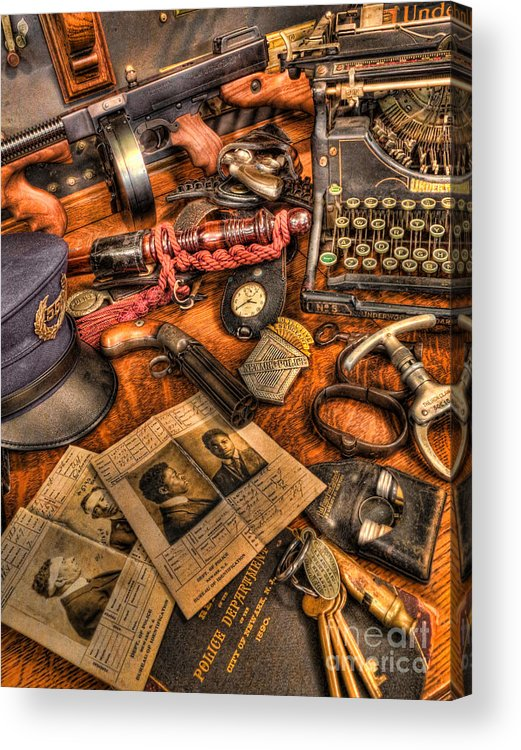 Police Acrylic Print featuring the photograph Police Officer - The Detective's Desk by Lee Dos Santos