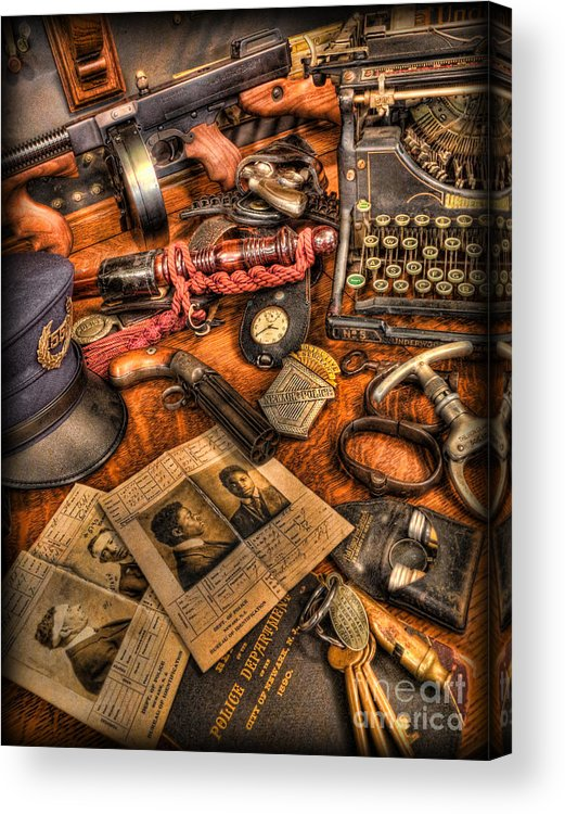 Police Acrylic Print featuring the photograph Police Officer- The Detective's Desk II by Lee Dos Santos