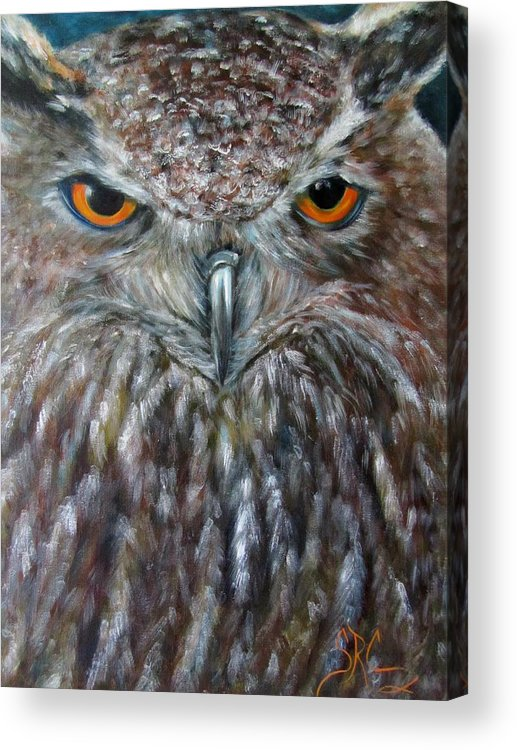 Owl Acrylic Print featuring the painting Rings Of Fire, Owl by Sandra Reeves