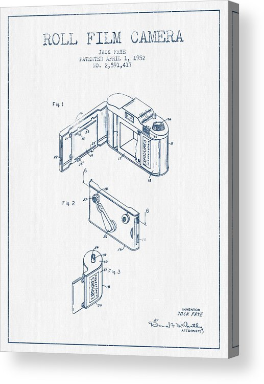Camera Acrylic Print featuring the digital art Roll Film Camera Patent From 1952- Blue Ink by Aged Pixel