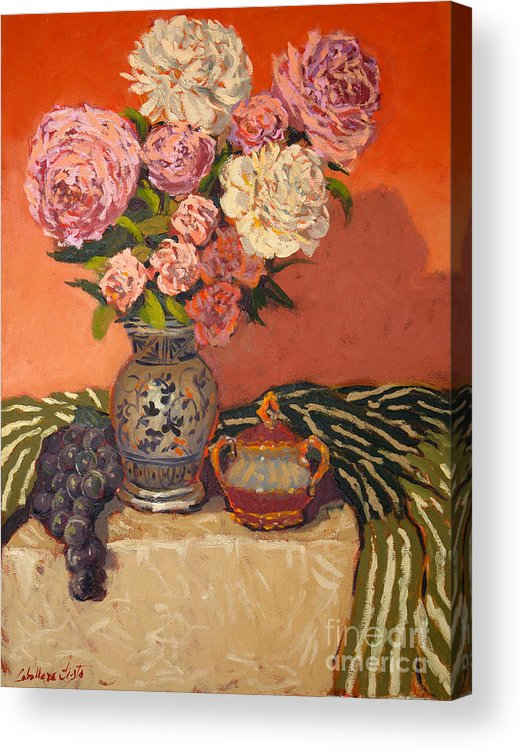 Still Life Arrangements Acrylic Print featuring the painting Roses Peonies And Grapes by Monica Caballero