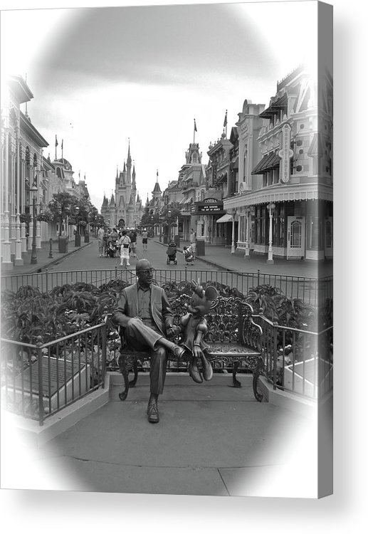 Black And White Acrylic Print featuring the photograph Roy And Minnie Mouse Black And White Magic Kingdom Walt Disney World by Thomas Woolworth