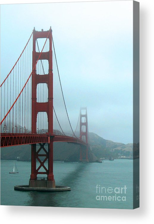 The Golden Gate Bridge Acrylic Print featuring the photograph Sailing Under The Golden Gate Bridge by Connie Fox