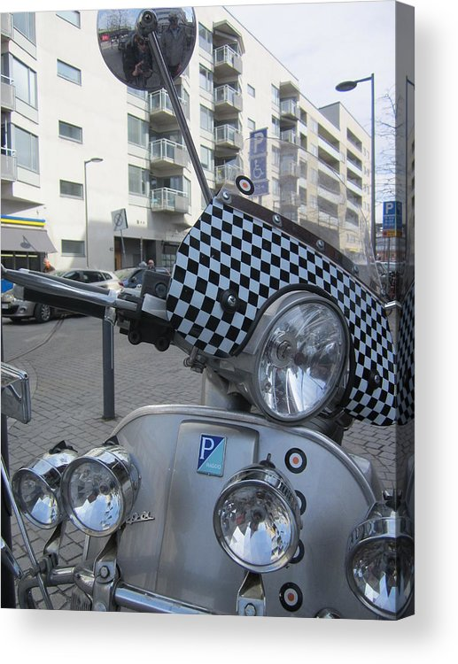 Checkerboard Acrylic Print featuring the photograph Scooter In The Spotlight by Rosita Larsson