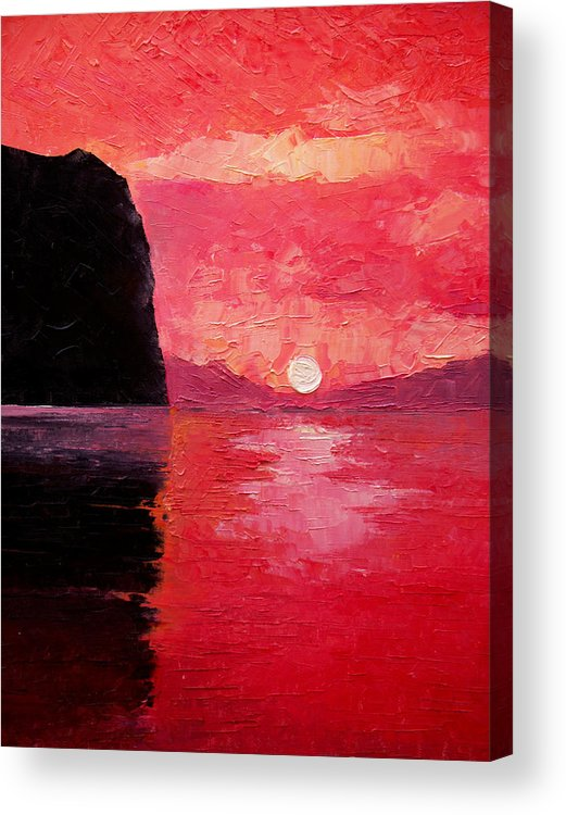 Landscape Acrylic Print featuring the painting Seaside Sunset by Sergey Bezhinets