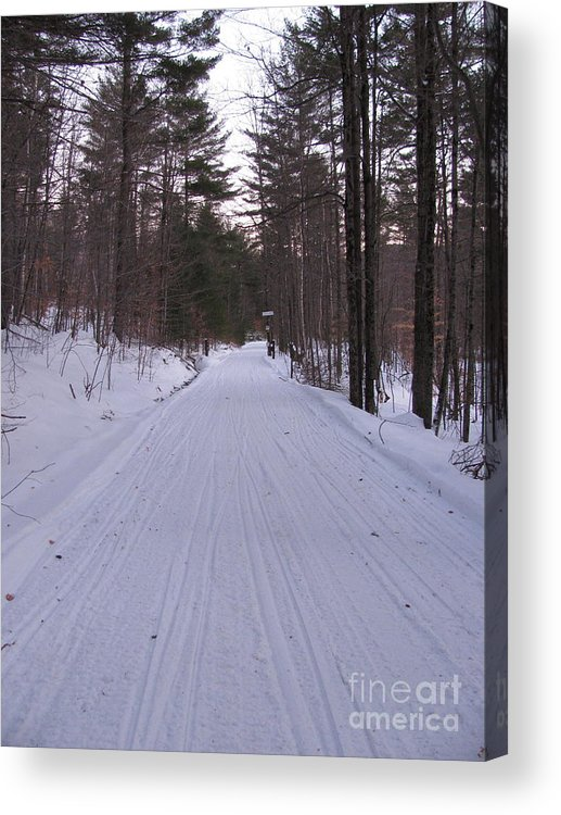 Snow Acrylic Print featuring the photograph Snowmobile Trail by Nancie Johnson