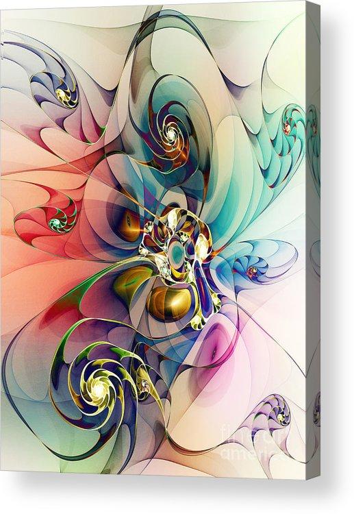 Spirals Acrylic Print featuring the digital art Spiral Mania 3 by Klara Acel