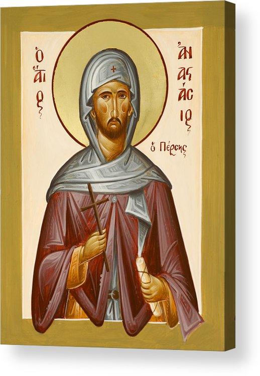 Saint Anastasios The Persian Acrylic Print featuring the painting St Anastasios The Persian by Julia Bridget Hayes