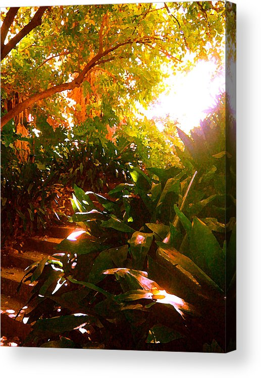 Landscapes Acrylic Print featuring the painting Stairway To The Top by Amy Vangsgard