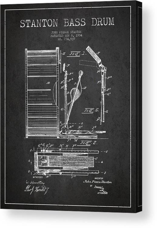 Drum Acrylic Print featuring the digital art Stanton Bass Drum Patent Drawing From 1904 - Dark by Aged Pixel