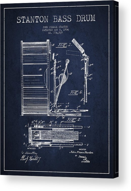 Drum Acrylic Print featuring the digital art Stanton Bass Drum Patent Drawing From 1904 - Navy Blue by Aged Pixel