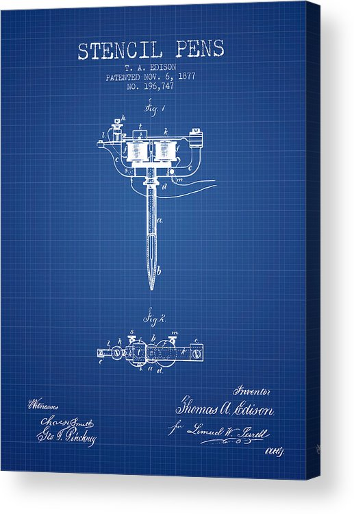 Stecil Pen Acrylic Print featuring the digital art Stencil Pen Patent From 1877 - Blueprint by Aged Pixel