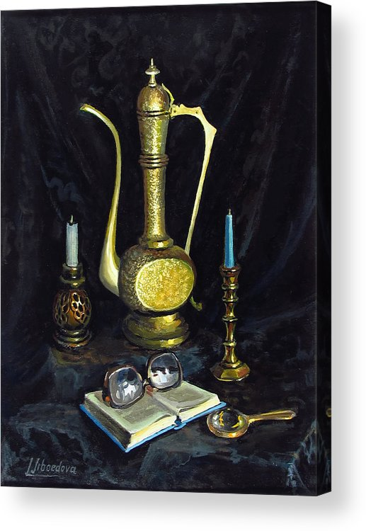 Oil On Canvas Acrylic Print featuring the painting Still Life With Brass Vase And Book by Lyubov Jiboedova