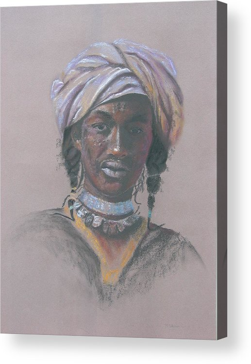 Portrait Acrylic Print featuring the painting Tchad Warrior by Maruska Lebrun