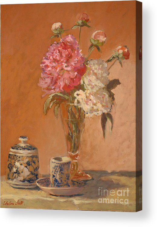 Still Life Arrangements Acrylic Print featuring the painting Tea Cup With Peonies by Monica Caballero