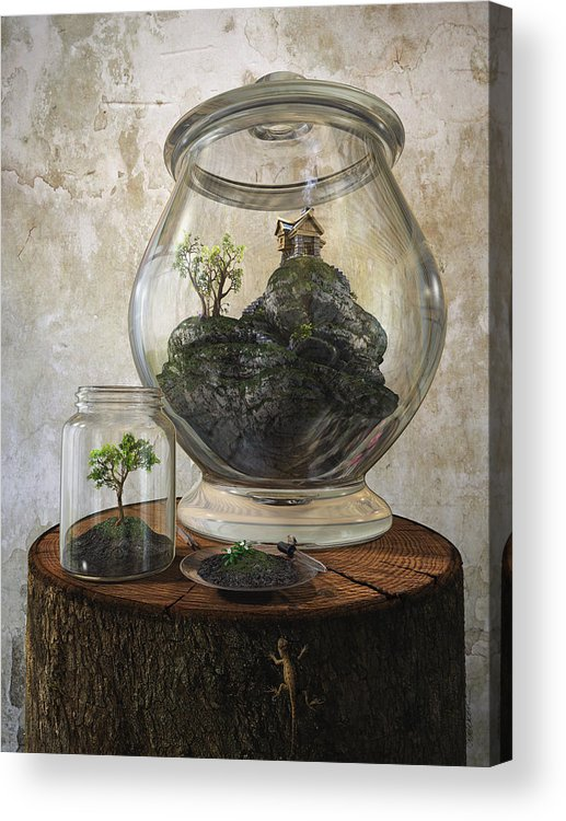 Jar Acrylic Print featuring the digital art Terrarium by Cynthia Decker