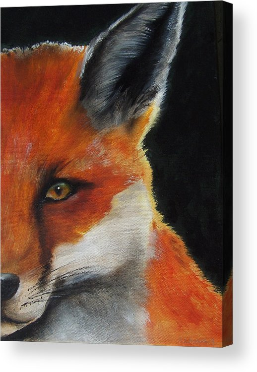 Fox Acrylic Print featuring the painting The Fox by Kathy Laughlin