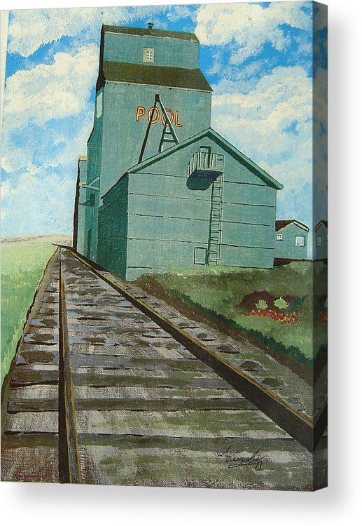 Elevator Acrylic Print featuring the painting The Grain Elevator by Anthony Dunphy
