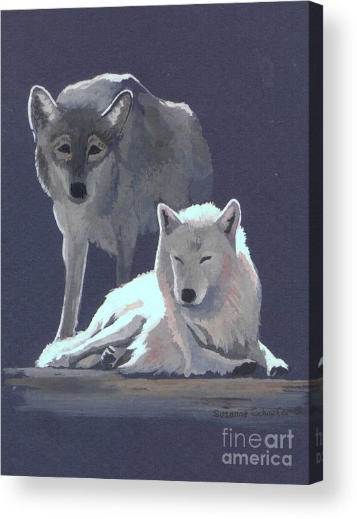 Wolves Acrylic Print featuring the painting The Guardian by Suzanne Schaefer
