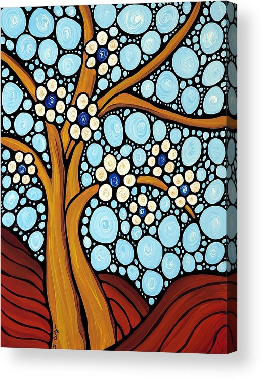 Flower Acrylic Print featuring the painting The Loving Tree by Sharon Cummings