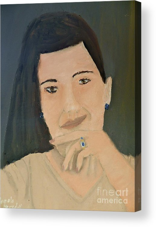 Portrait Acrylic Print featuring the painting Thinking Of What To Do Next by Pamela Meredith