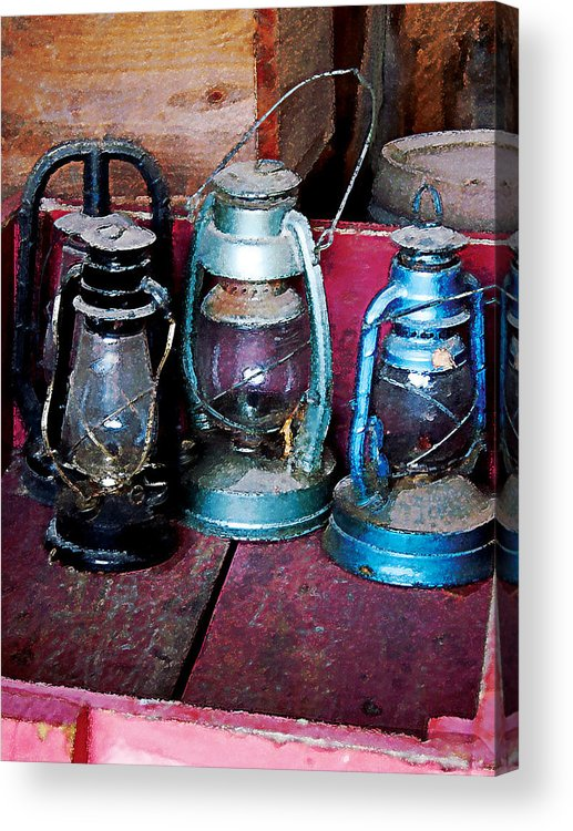 Lamp Acrylic Print featuring the photograph Three Kerosene Lamps by Susan Savad