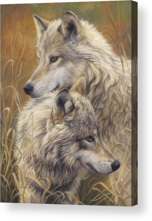 Wolf Acrylic Print featuring the painting Together by Lucie Bilodeau