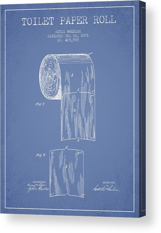 Toilet Acrylic Print featuring the digital art Toilet Paper Roll Patent Drawing From 1891 - Light Blue by Aged Pixel
