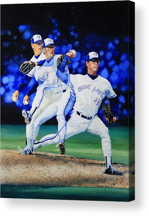 Sports Art Acrylic Print featuring the painting Triple Play by Hanne Lore Koehler