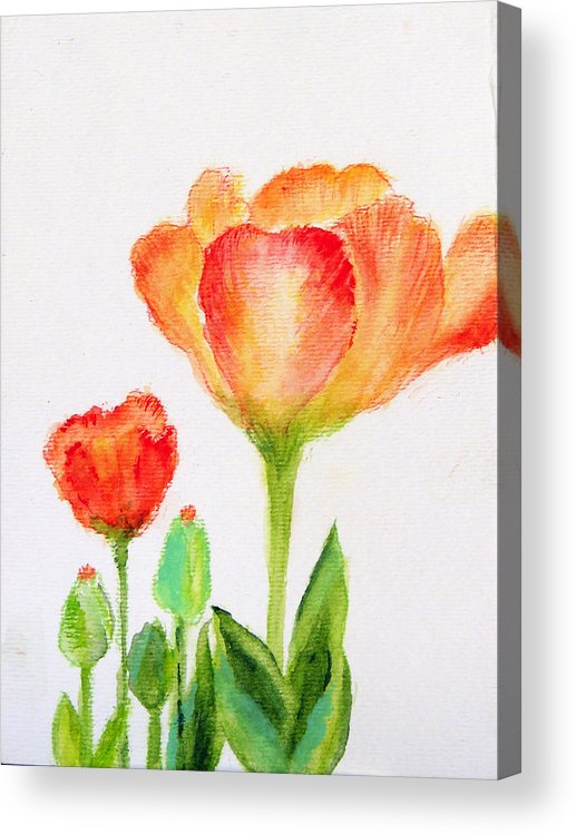 Floral Acrylic Print featuring the painting Tulips Orange And Red by Ashleigh Dyan Bayer